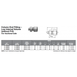 Column End Fitting – Low Internal Volume (without Frit) For fractional tube