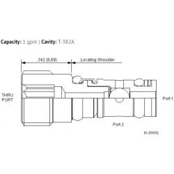 CSZNXXN Insert style, single ball shuttle valve with signal at port 2
