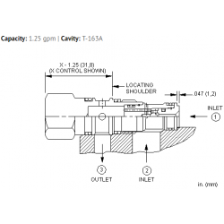 CSAXXXN Single ball shuttle valve with signal at port 3