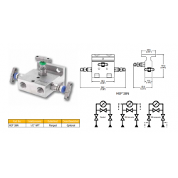 3 Valve direct mount manifold extruded body flange style