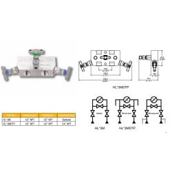 3 Valve remote manifold high pressure style